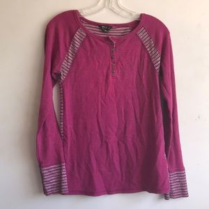Lucky Brand Pink Crochet Long Sleeve Thermal